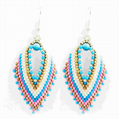 Russian Leaf Earring Beadwork Kit with MIYUKI Delicas - Pink/Turquoise/White